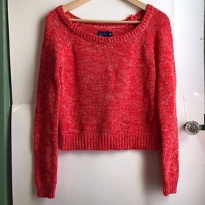 AMERICAN EAGLE Red White Marled Scoop Neck Sweater